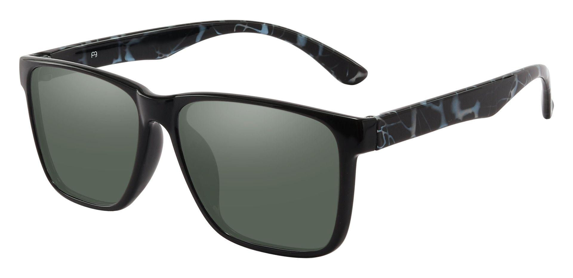 Barnum Square Prescription Sunglasses - Black Frame With Green Lenses