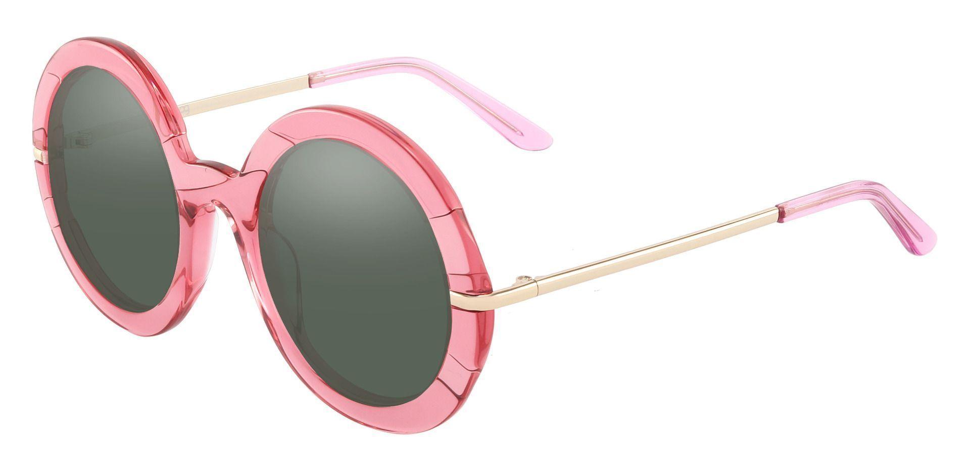 Pristine Round Prescription Sunglasses - Pink Frame With Green Lenses