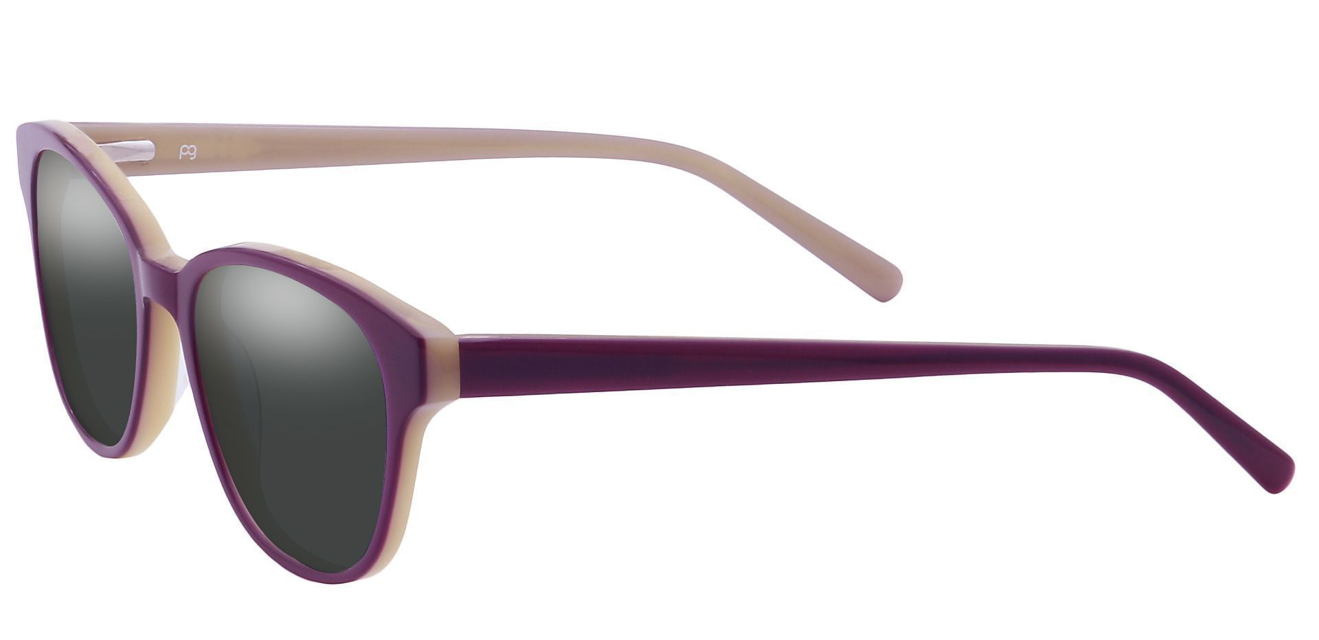 Elan Classic Square Non-Rx Sunglasses - Purple Frame With Gray Lenses