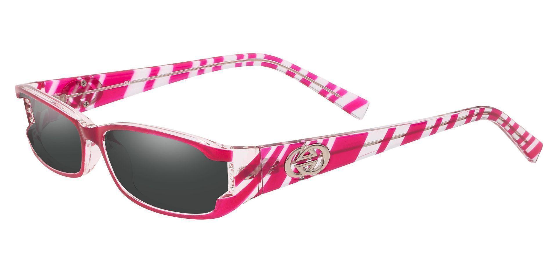 Kiki Rectangle Single Vision Sunglasses -  Pink Frame With Gray Lenses