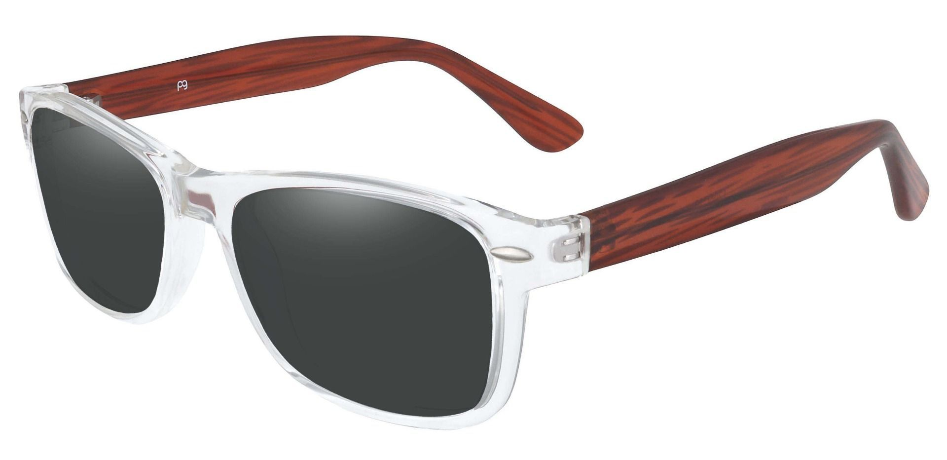 Kent Rectangle Lined Bifocal Sunglasses - Clear Frame With Gray Lenses