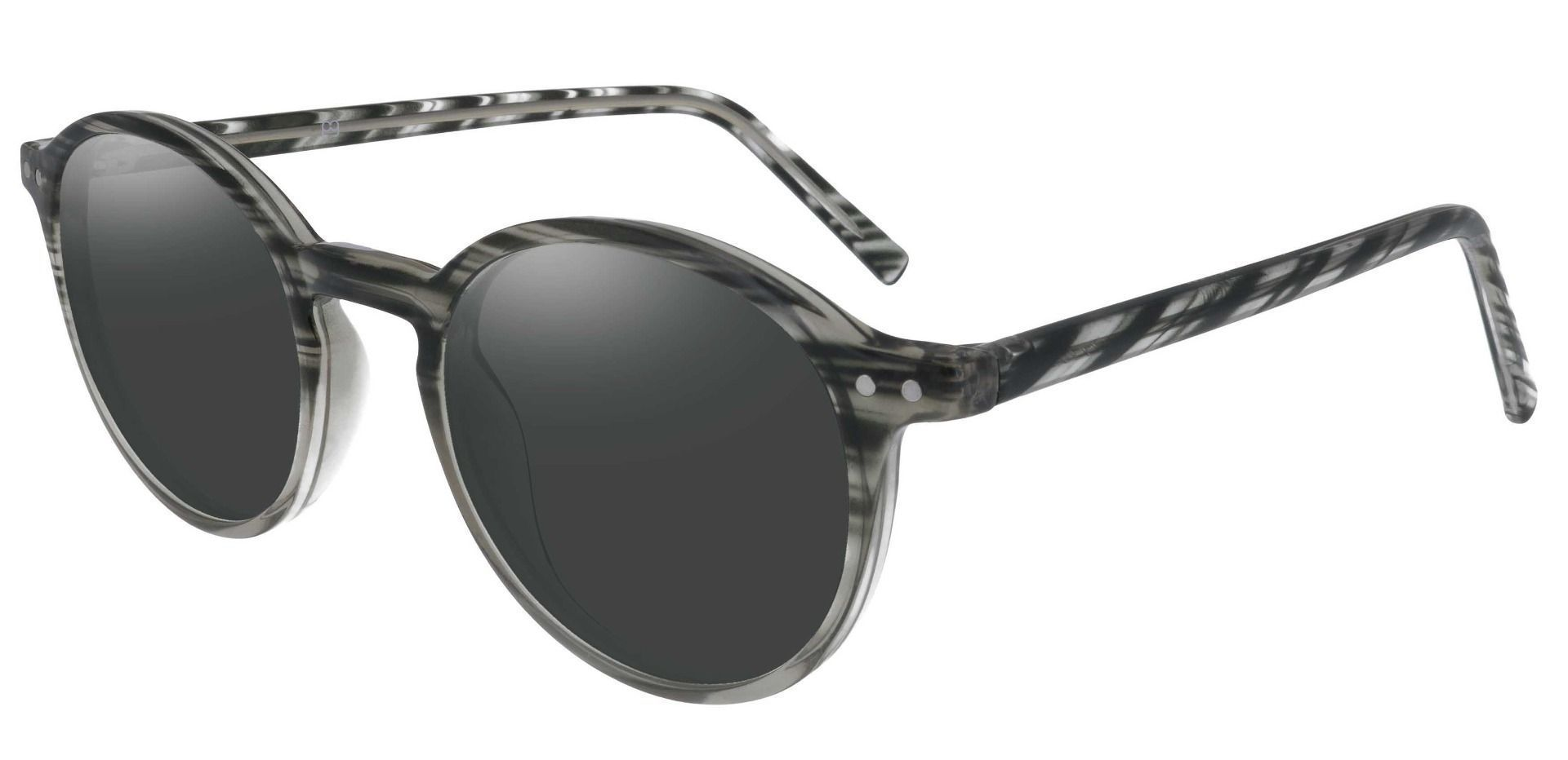 Harvard Round Prescription Sunglasses - Striped Frame With Gray Lenses