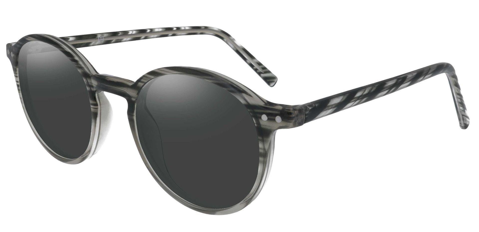 Harvard Round Prescription Sunglasses - Striped Frame With Gray Lenses