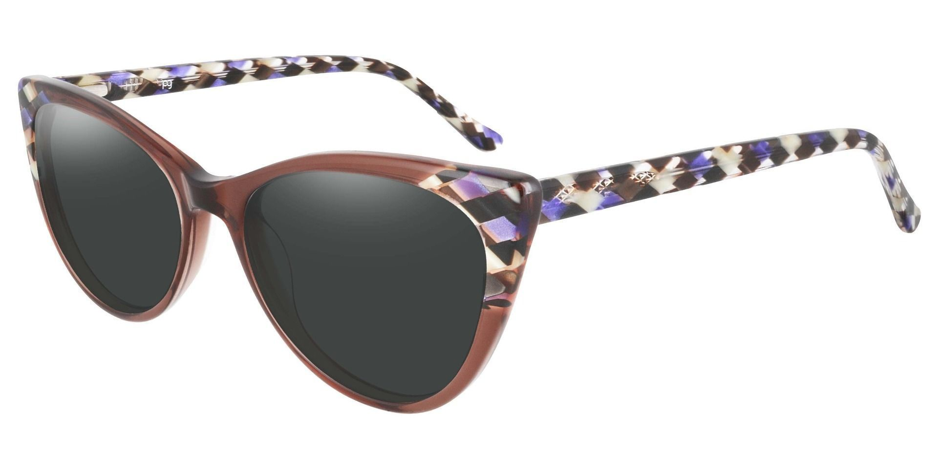 Mavis Cat Eye Prescription Sunglasses - Purple Frame With Gray Lenses