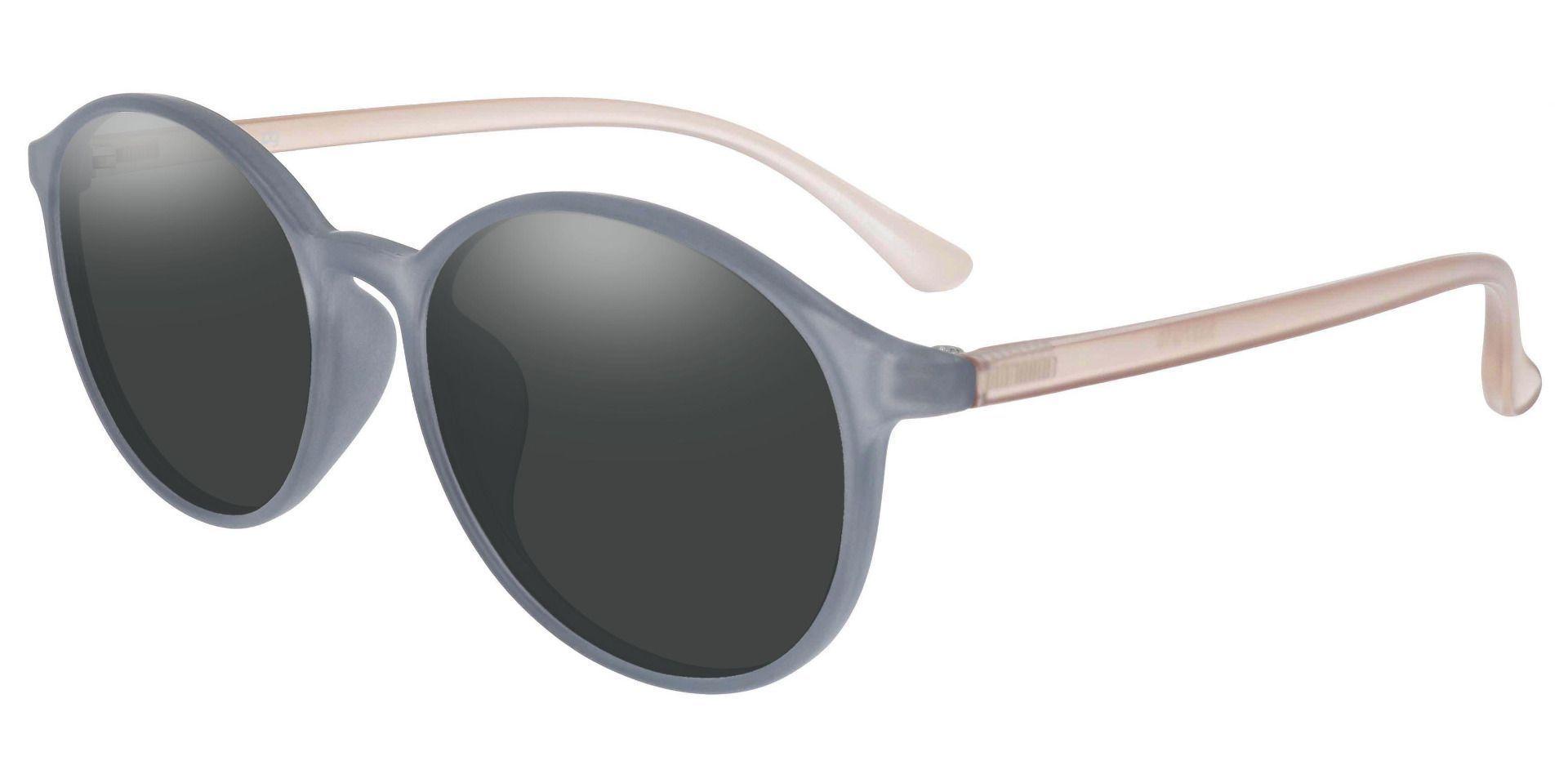 Zemi Round Prescription Sunglasses - Gray Frame With Gray Lenses