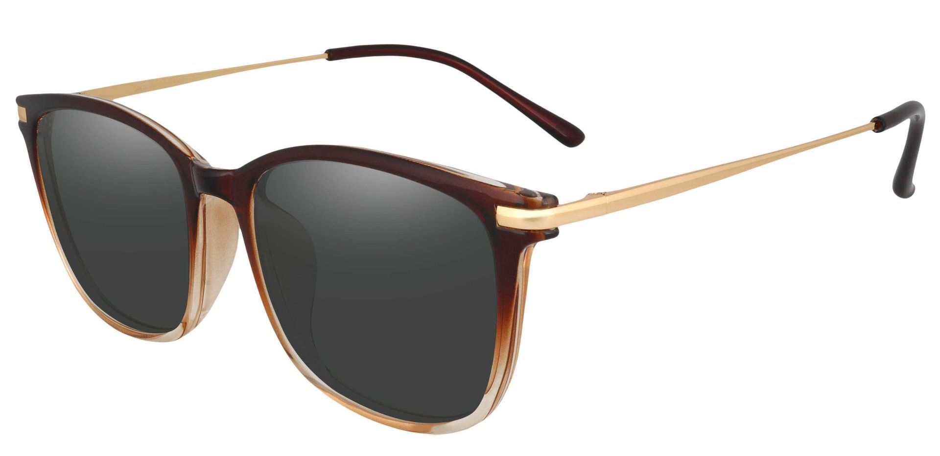 Katie Oval Prescription Sunglasses - Brown Frame With Gray Lenses
