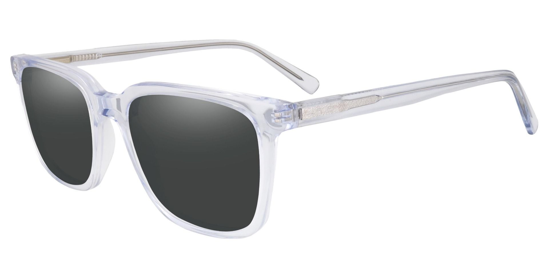 Alex Square Prescription Sunglasses - Clear Frame With Gray Lenses