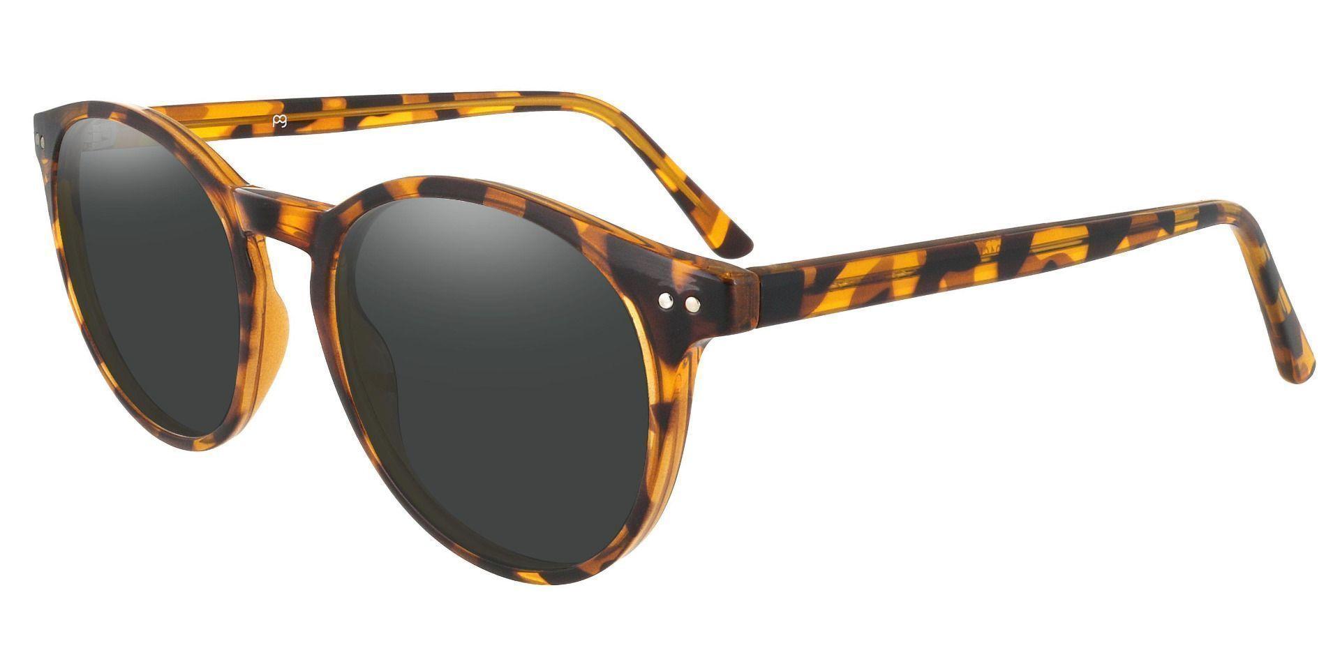 Dormont Round Prescription Sunglasses - Leopard Frame With Gray Lenses