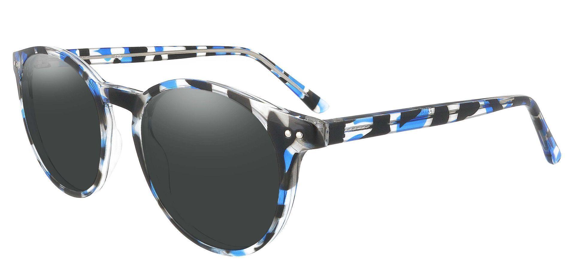 Dormont Round Prescription Sunglasses - Blue Frame With Gray Lenses
