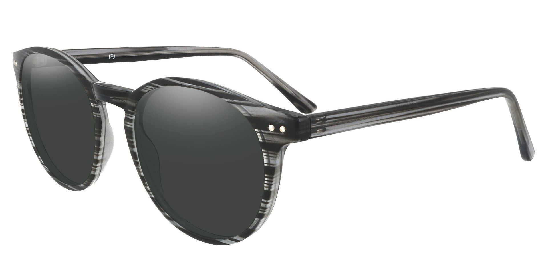 Dormont Round Prescription Sunglasses - Black Frame With Gray Lenses
