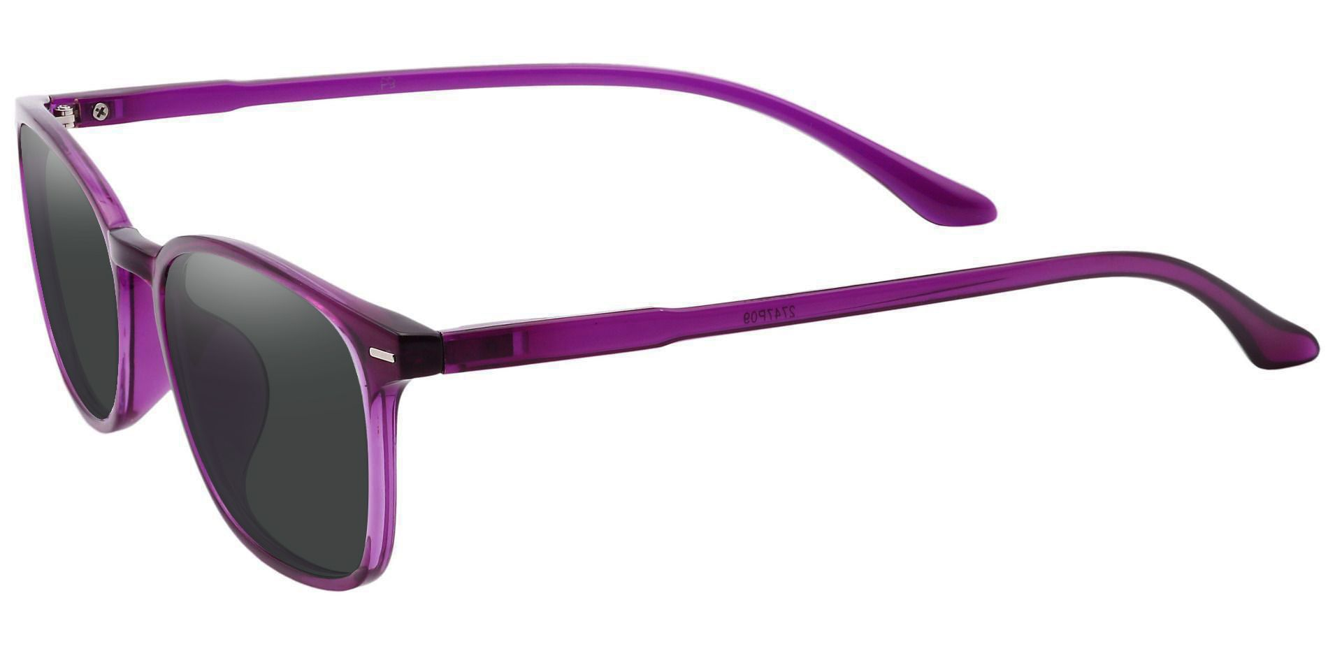 Cabo Oval Prescription Sunglasses - Purple Frame With Gray Lenses