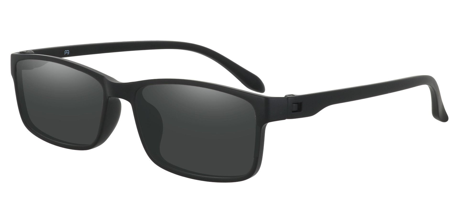 Candice Rectangle Prescription Sunglasses - Black Frame With Gray Lenses