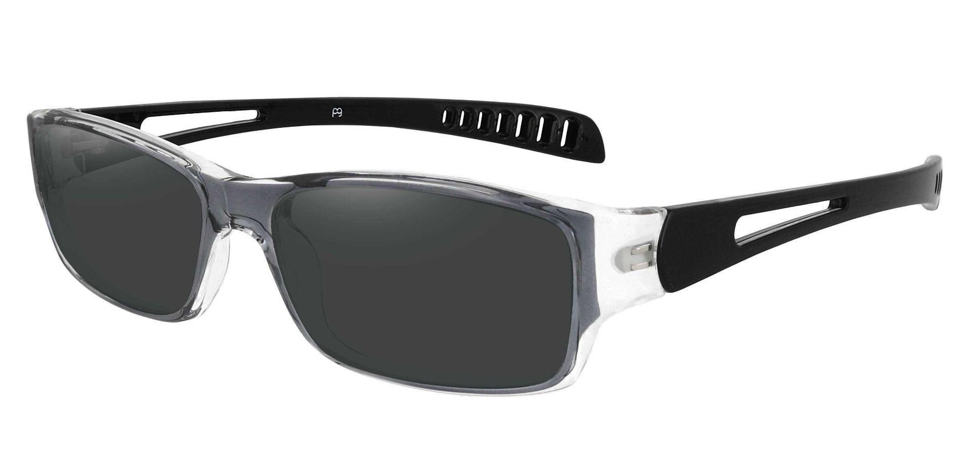Mercury Rectangle Prescription Sunglasses - Gray Frame With Gray Lenses