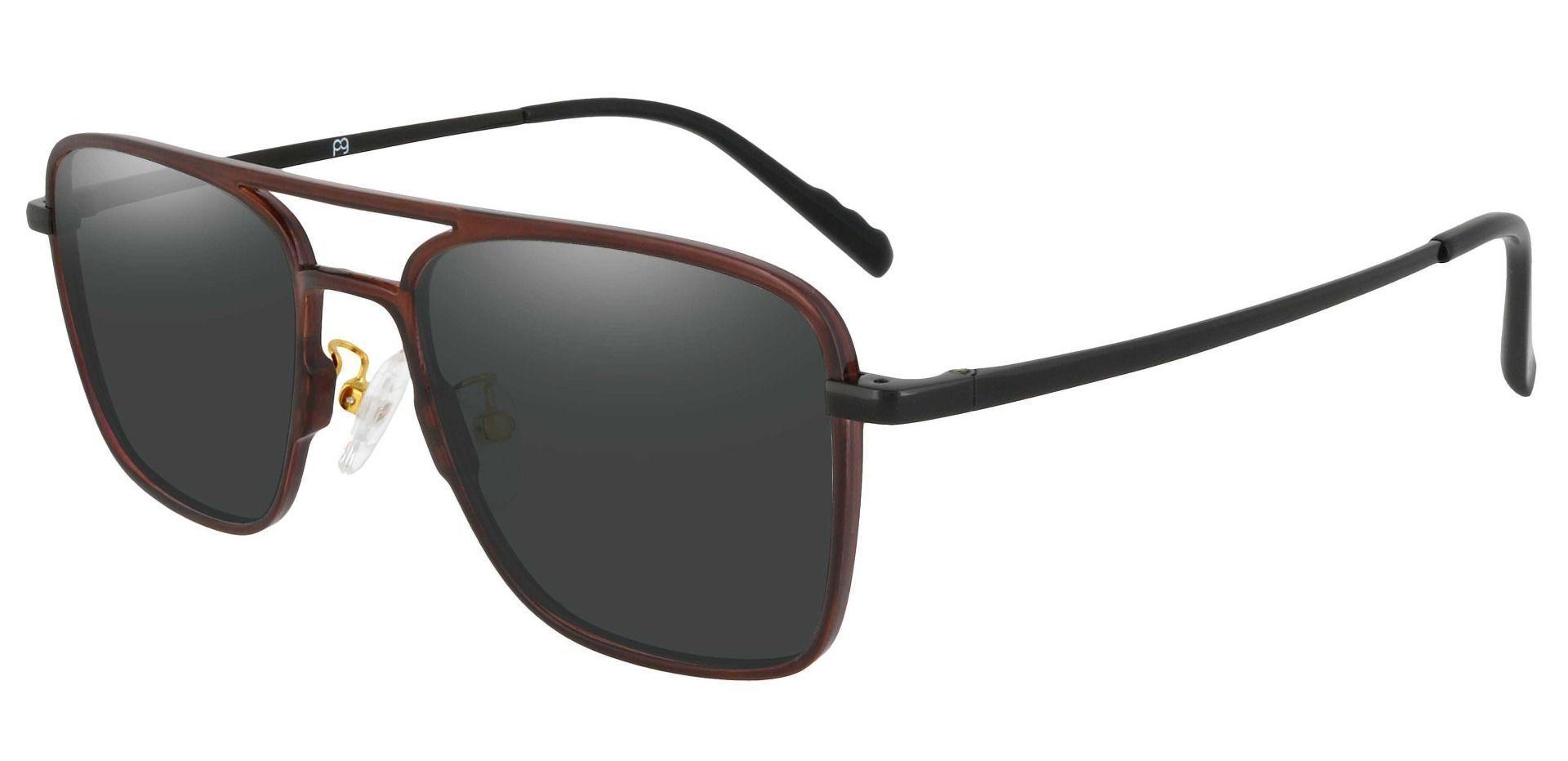 Largo Aviator Prescription Sunglasses - Brown Frame With Gray Lenses