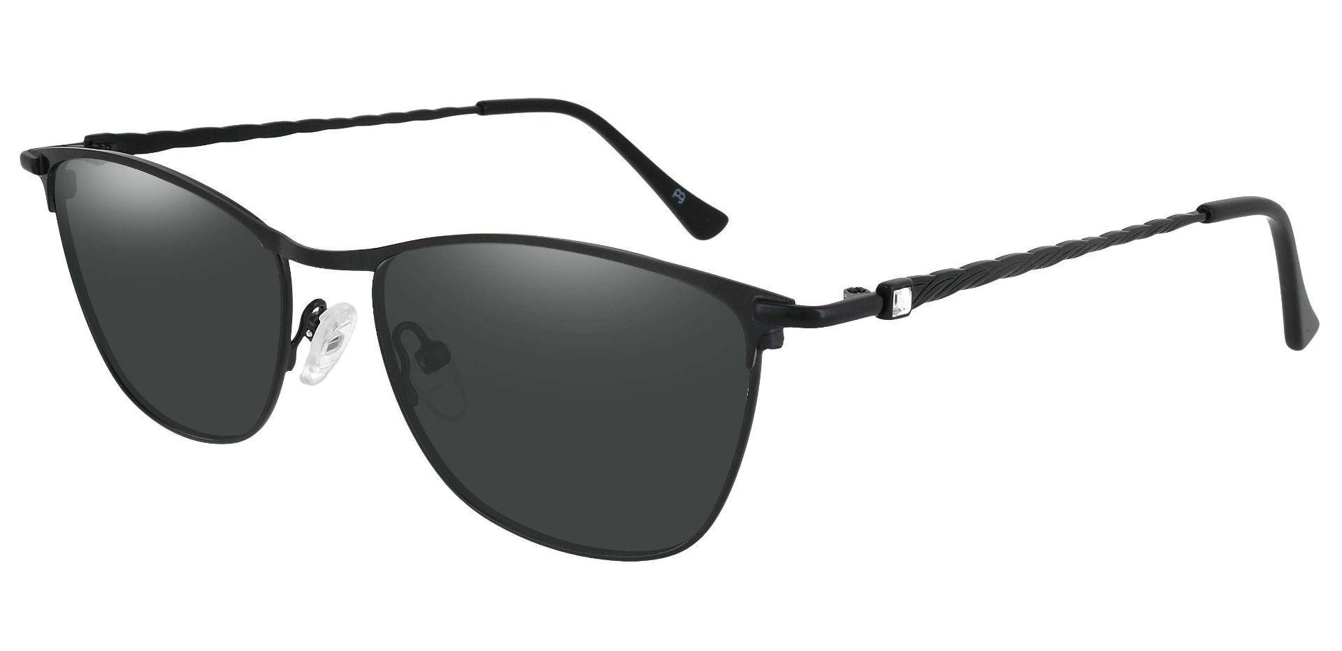 Andrea Cat Eye Progressive Sunglasses - Black Frame With Gray Lenses