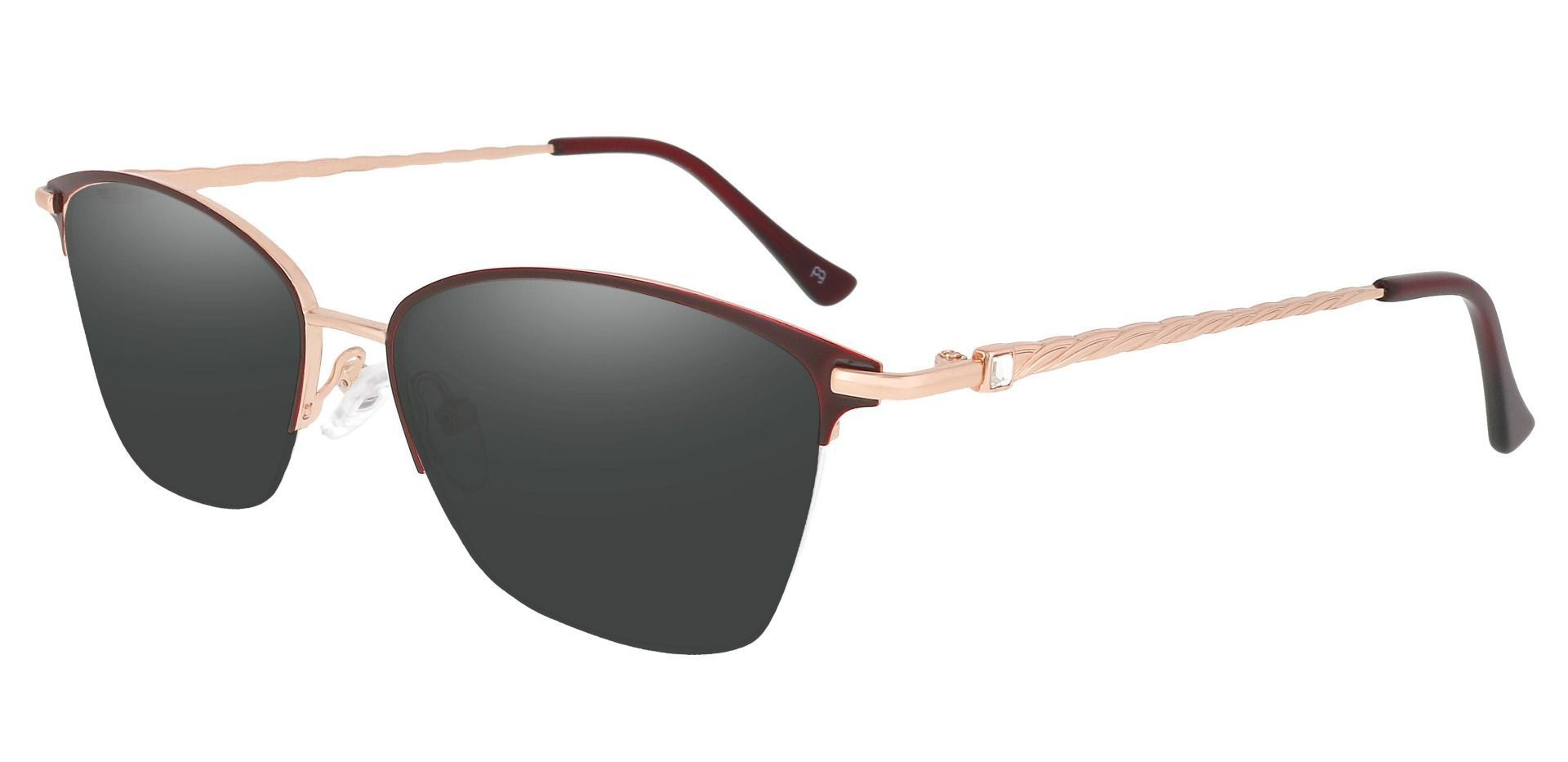 Marigold Rectangle Reading Sunglasses - Red Frame With Gray Lenses