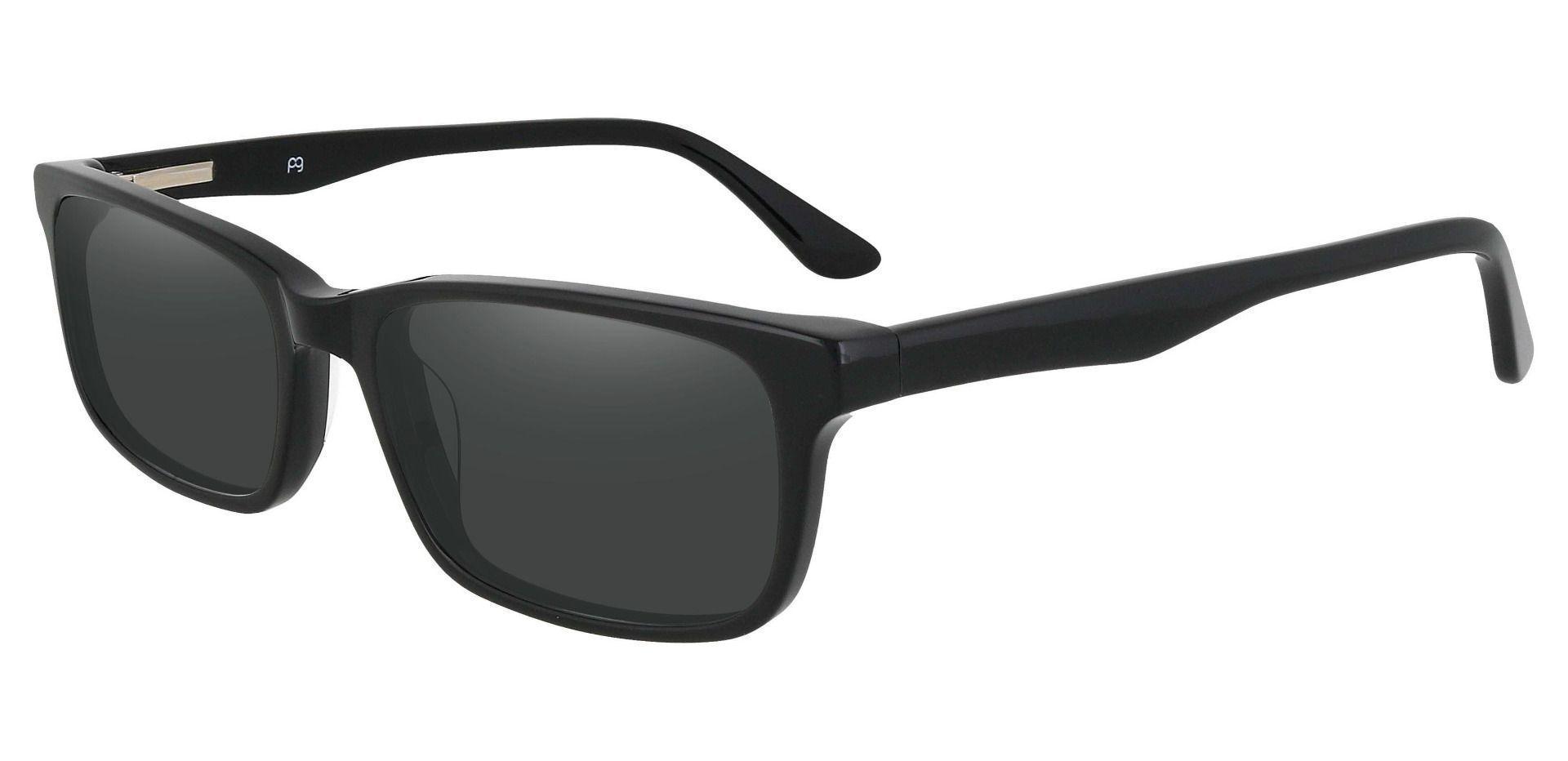 Ennis Rectangle Progressive Sunglasses - Black Frame With Gray Lenses