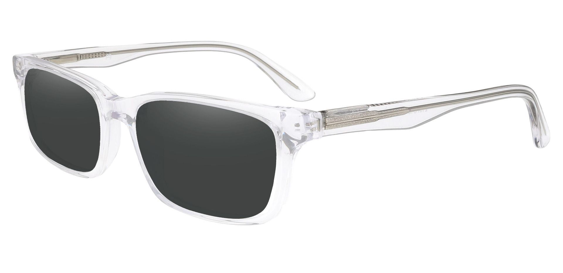 Ennis Rectangle Prescription Sunglasses - Clear Frame With Gray Lenses