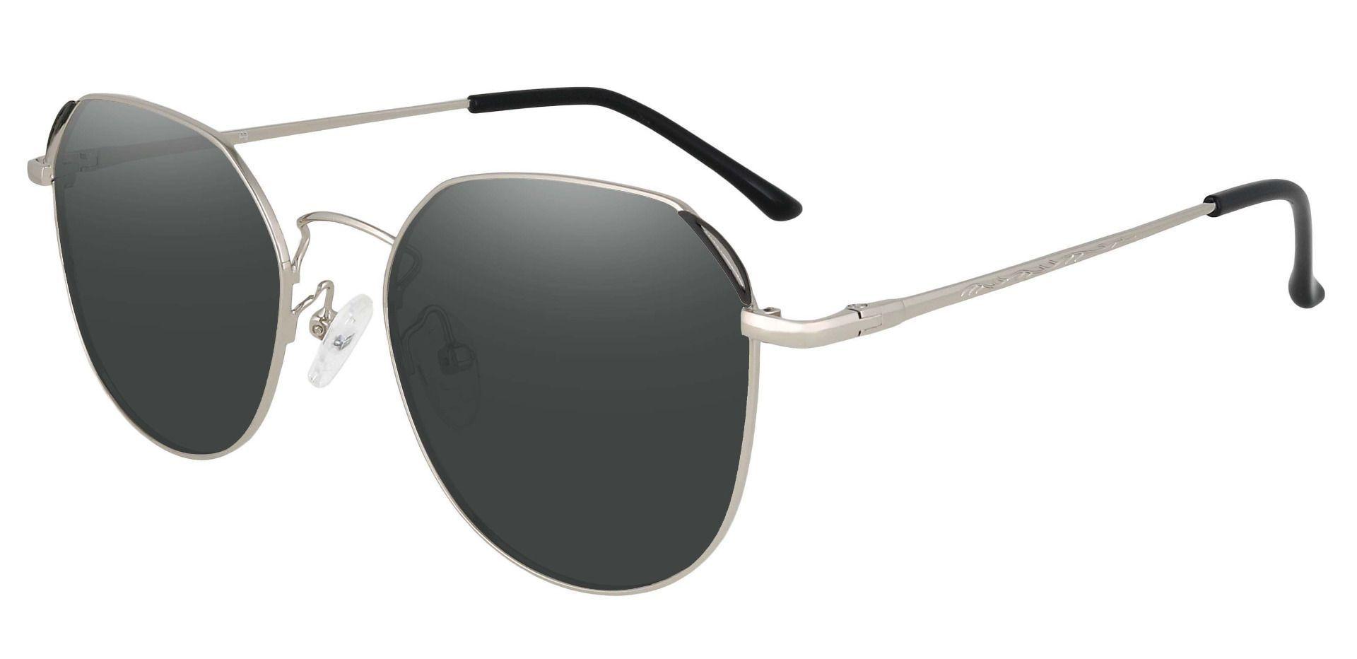 Figaro Geometric Progressive Sunglasses - Silver Frame With Gray Lenses