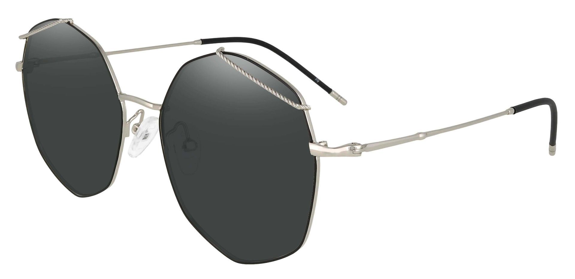 Tango Geometric Lined Bifocal Sunglasses - Black Frame With Gray Lenses