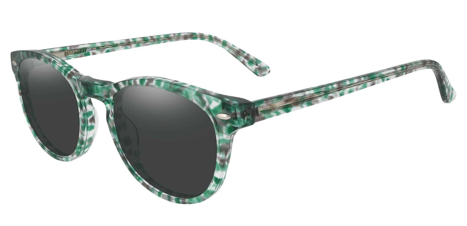 Laguna Oval Prescription Sunglasses - Green Frame With Gray Lenses