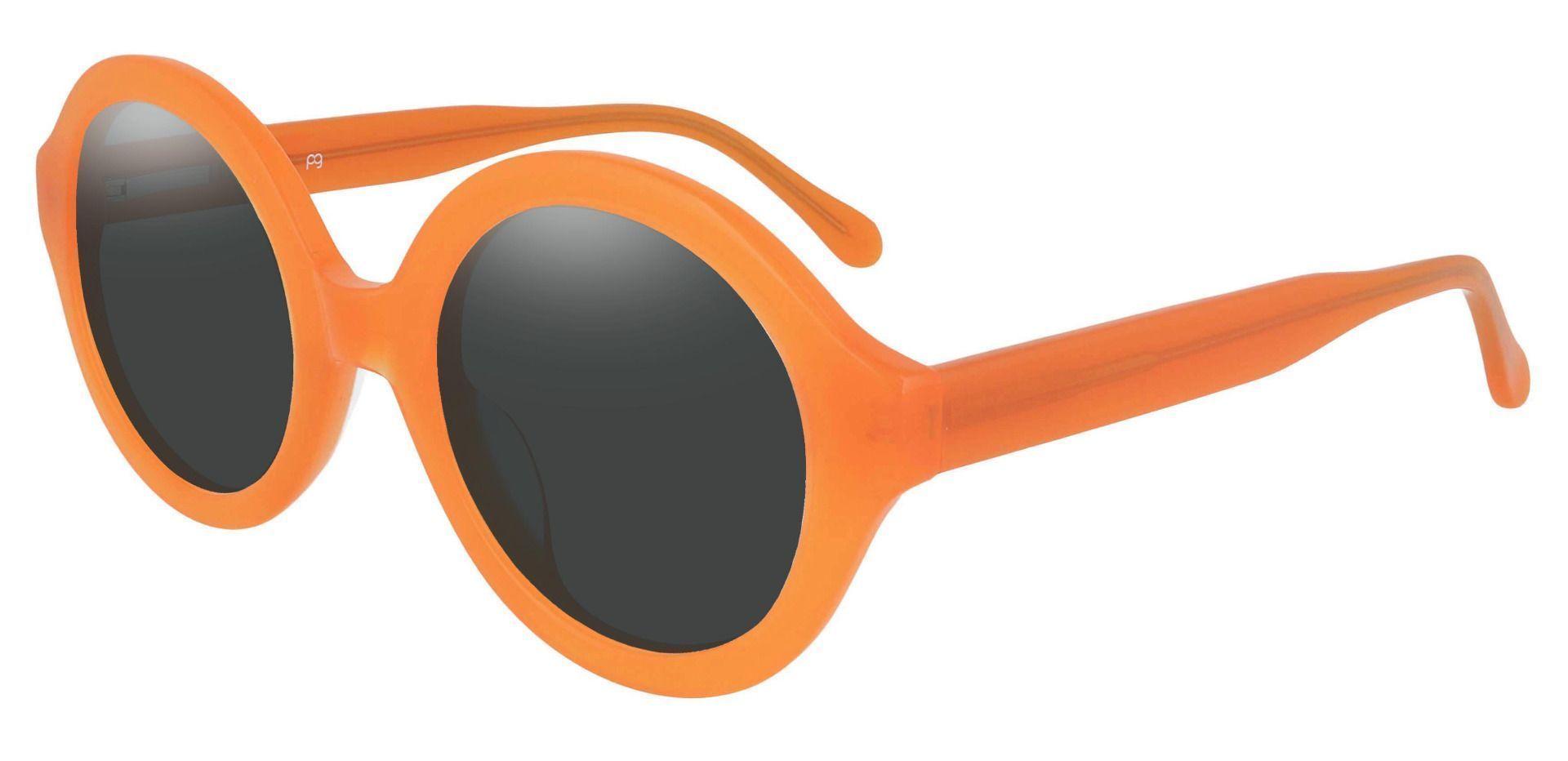 Clara Round Prescription Sunglasses - Orange Frame With Gray Lenses