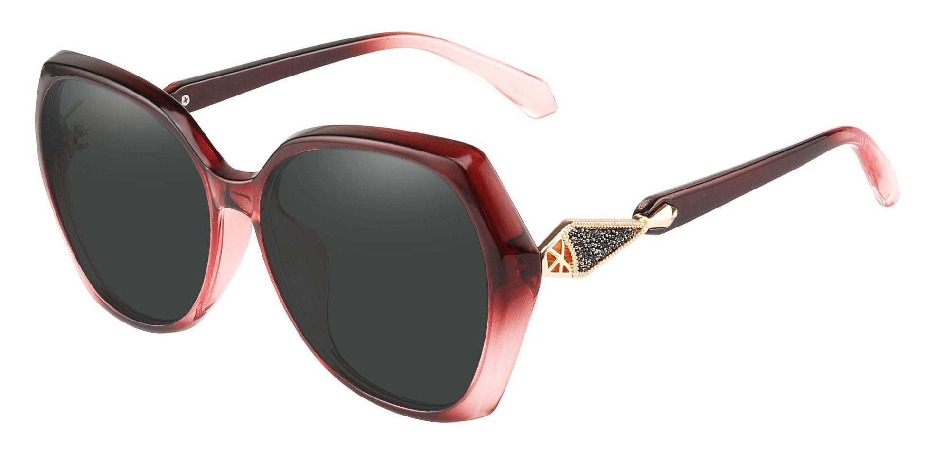 Solitaire Geometric Reading Sunglasses - Red Frame With Gray Lenses