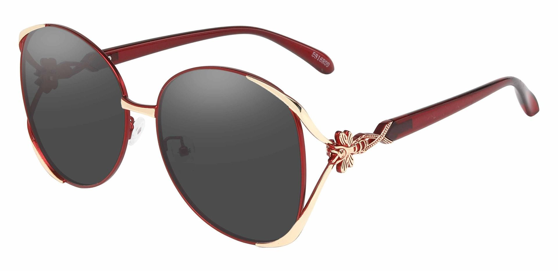 Nina Round Single Vision Sunglasses - Red Frame With Gray Lenses