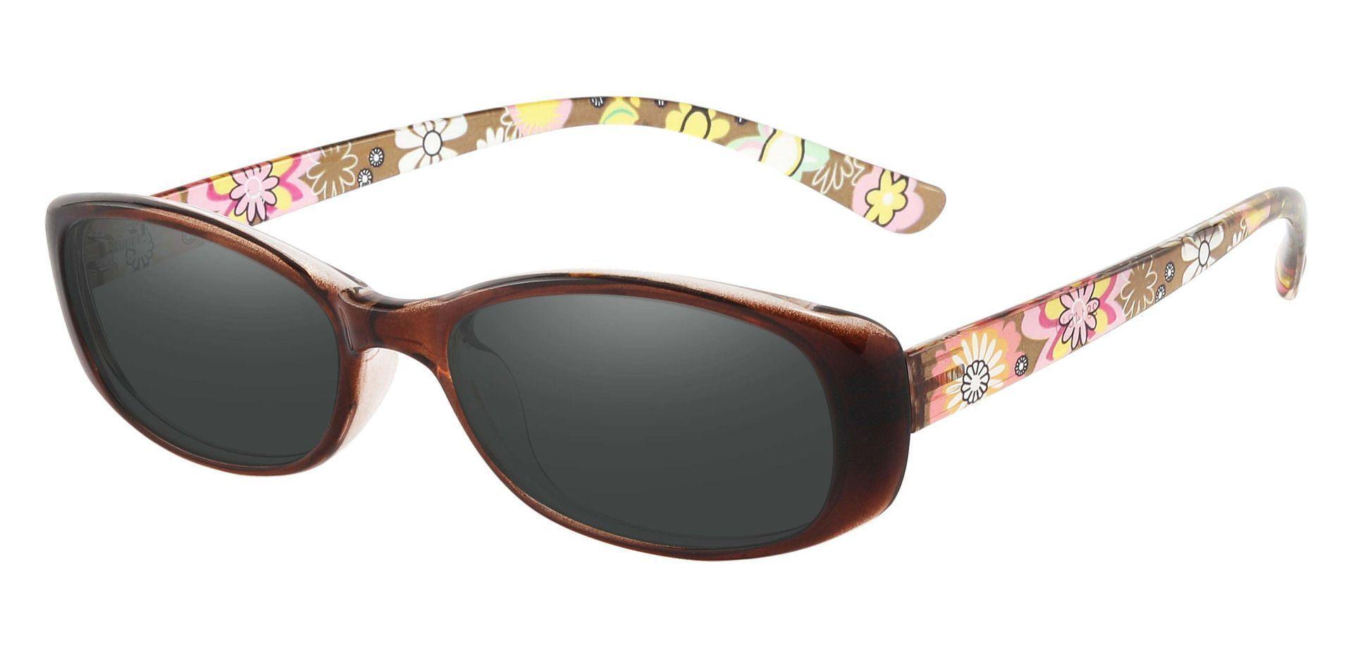 Bethesda Rectangle Prescription Sunglasses - Brown Frame With Gray Lenses