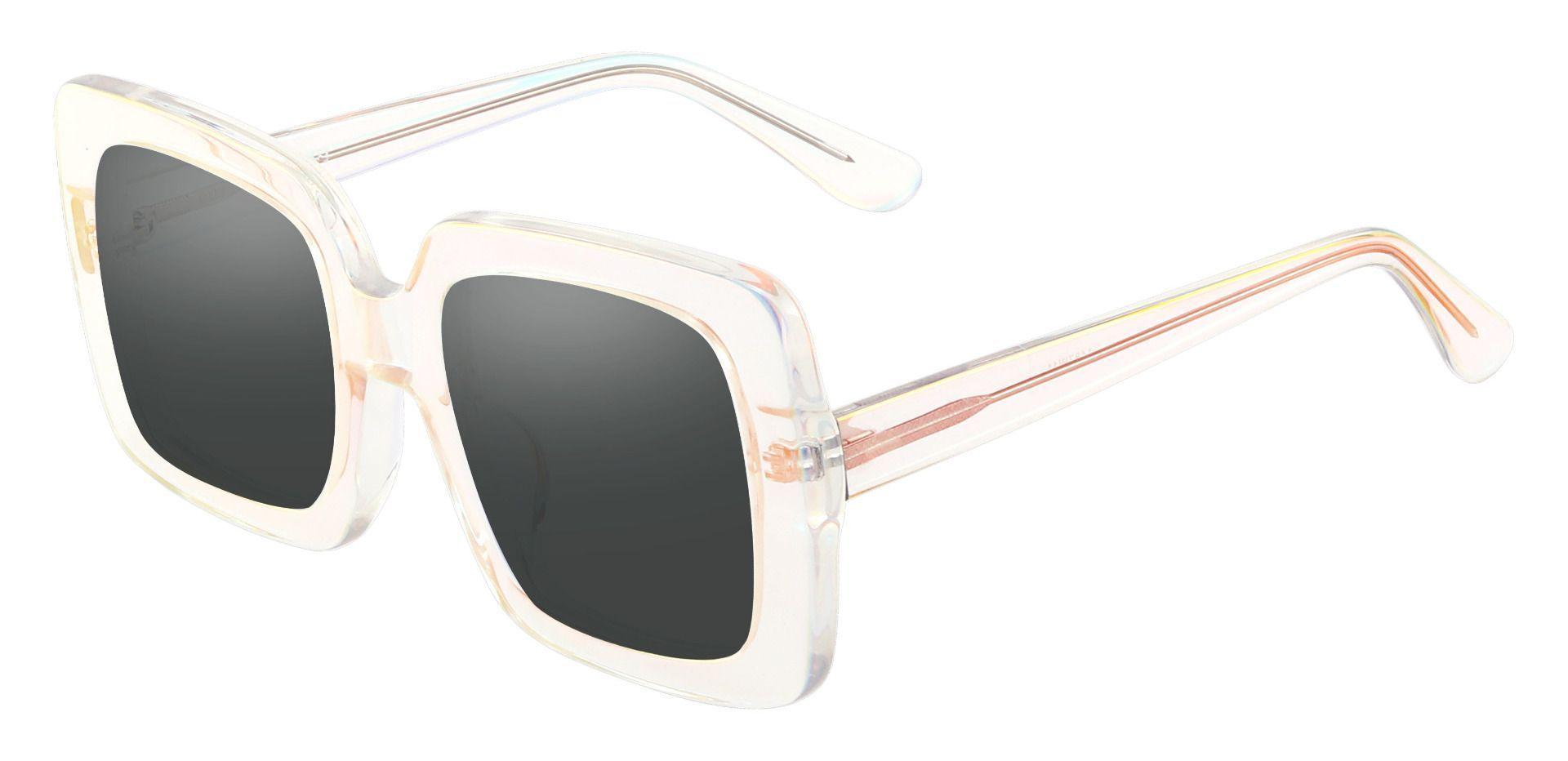 Mimosa Square Prescription Sunglasses - Clear Frame With Gray Lenses