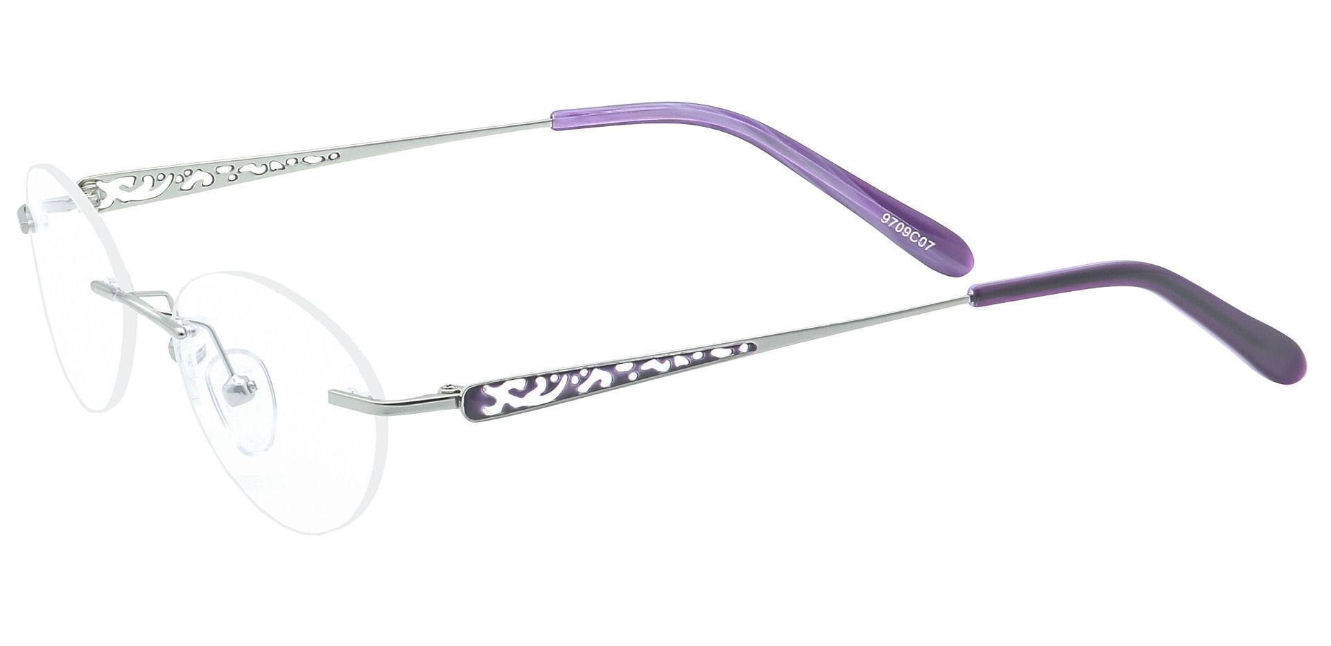 Christina Rimless Non-Rx Glasses - The Frame Is Silver And Purple