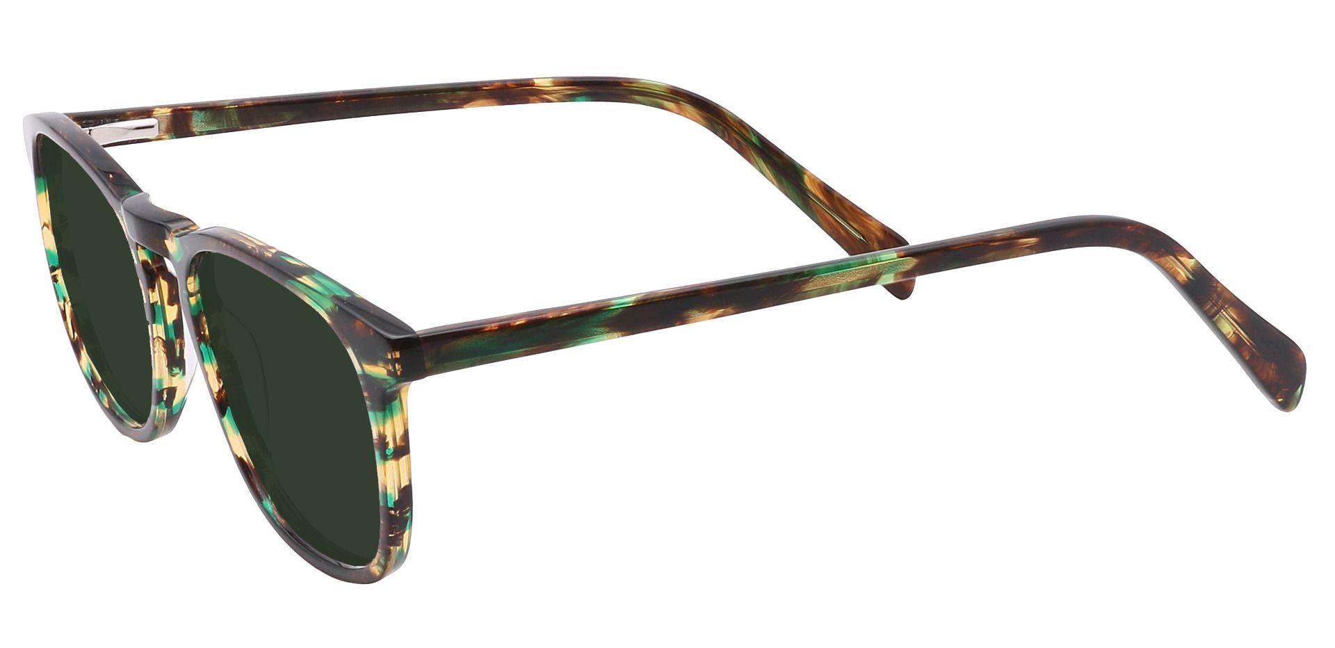 Venti Square Prescription Sunglasses - Green Frame With Green Lenses