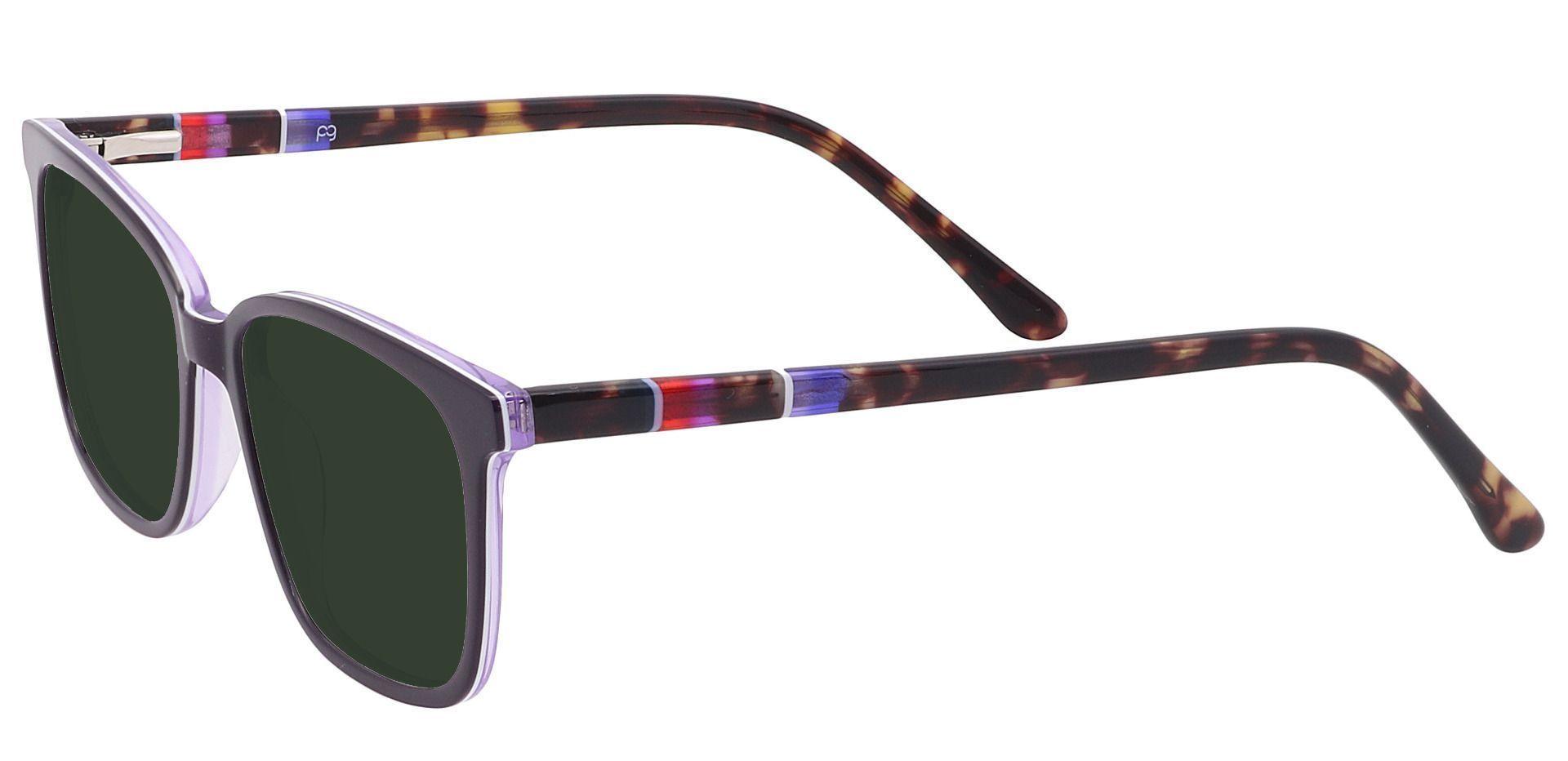 Fern Square Prescription Sunglasses - Purple Frame With Green Lenses