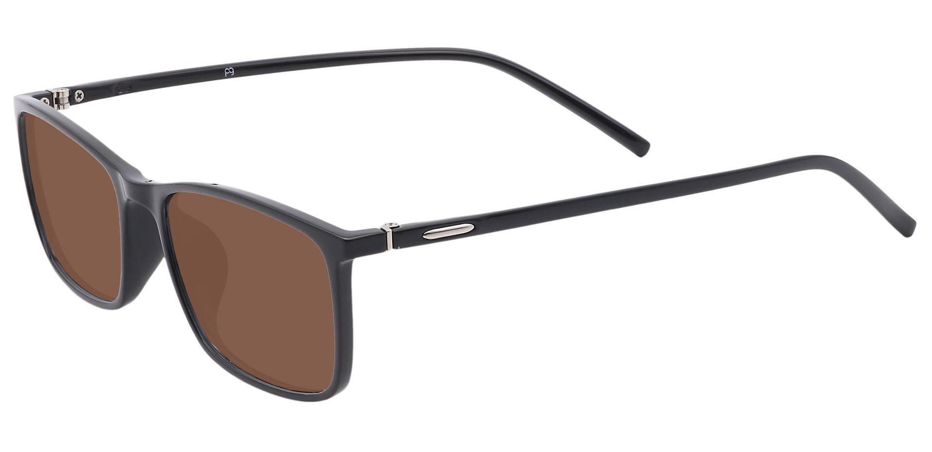 Fuji Rectangle Progressive Sunglasses - Black Frame With Brown Lenses