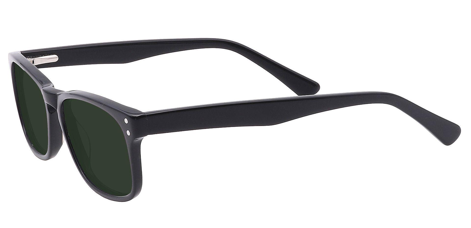 Morris Rectangle Prescription Sunglasses - Black Frame With Green Lenses