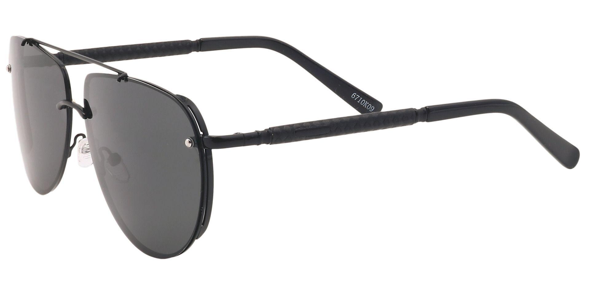 Artie Aviator Non-Rx Sunglasses - Black Frame With Gray Lenses