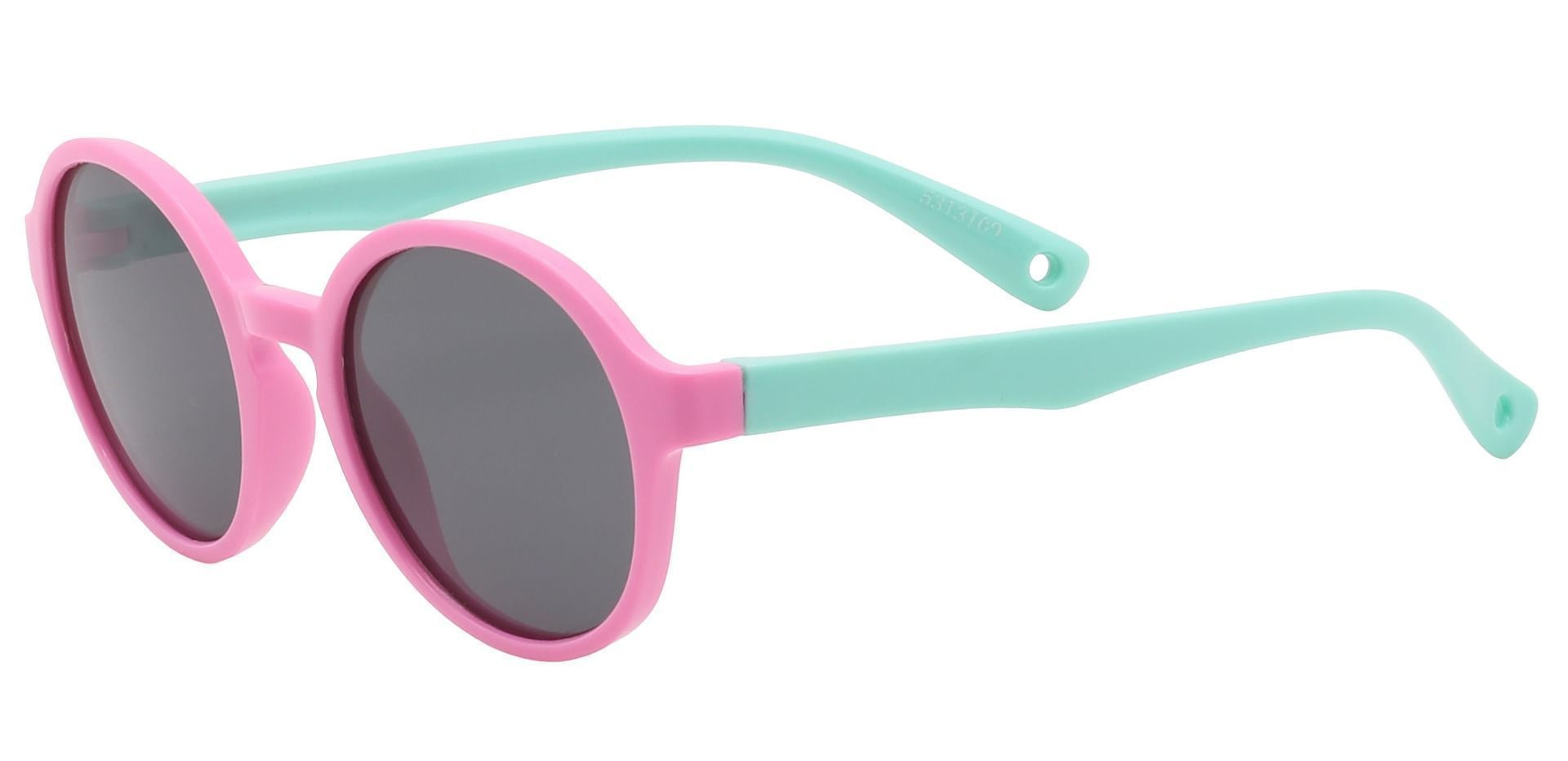 Cotton Candy Round Single Vision Sunglasses - Pink Frame With Gray Lenses