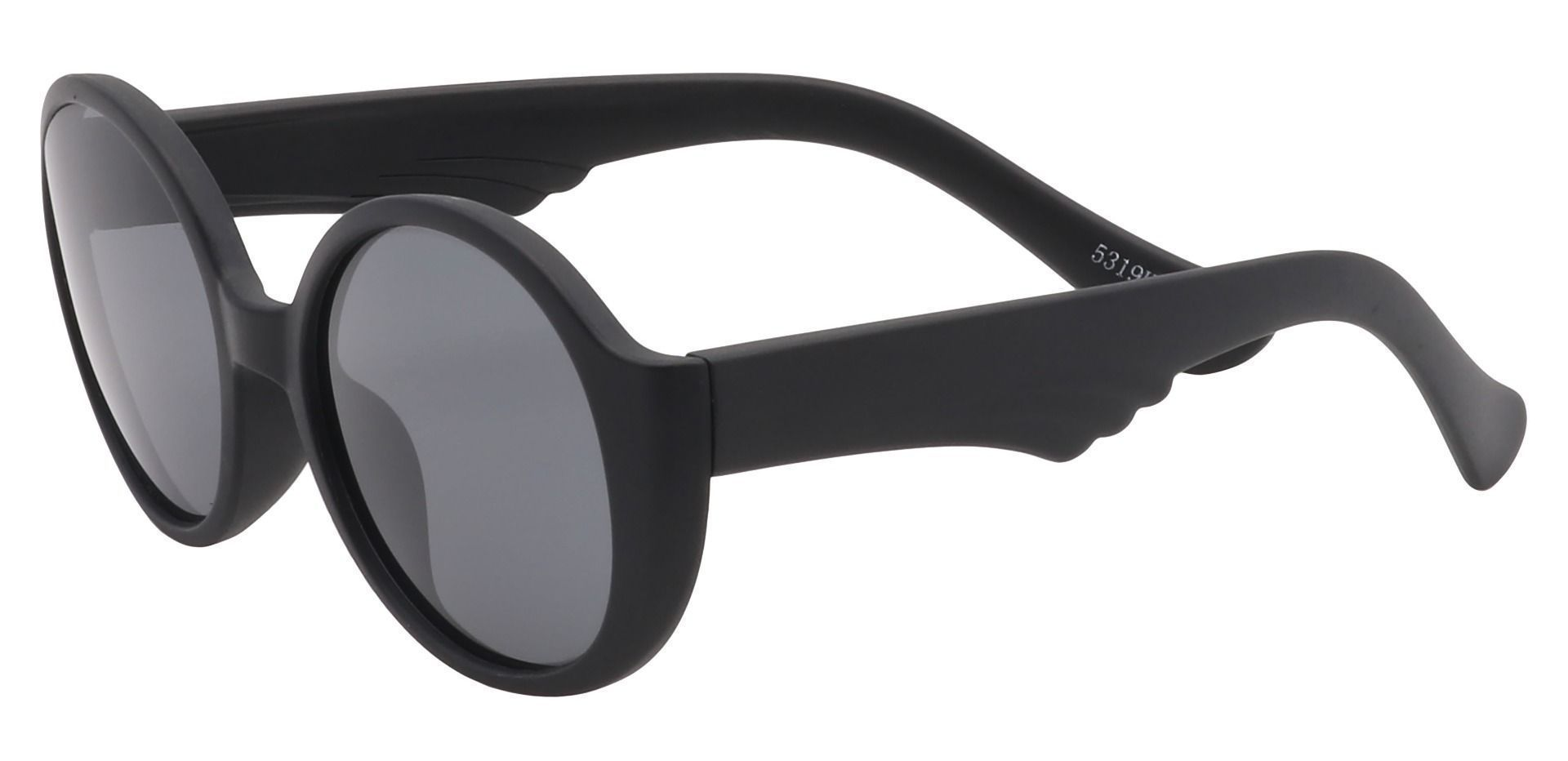 Raven Round Single Vision Sunglasses - Black Frame With Gray Lenses
