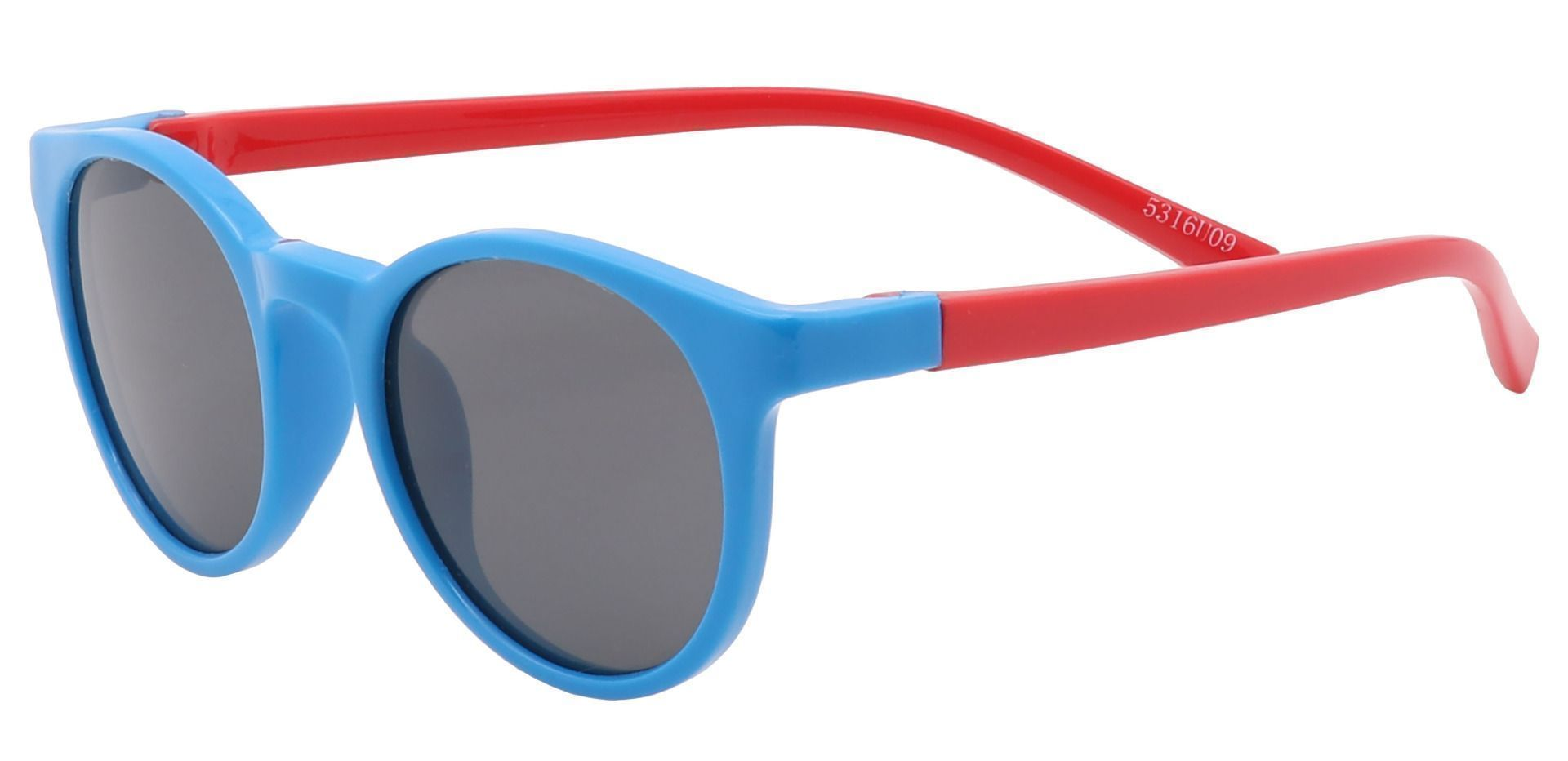 Bender Round Non-Rx Sunglasses - Blue Frame With Gray Lenses