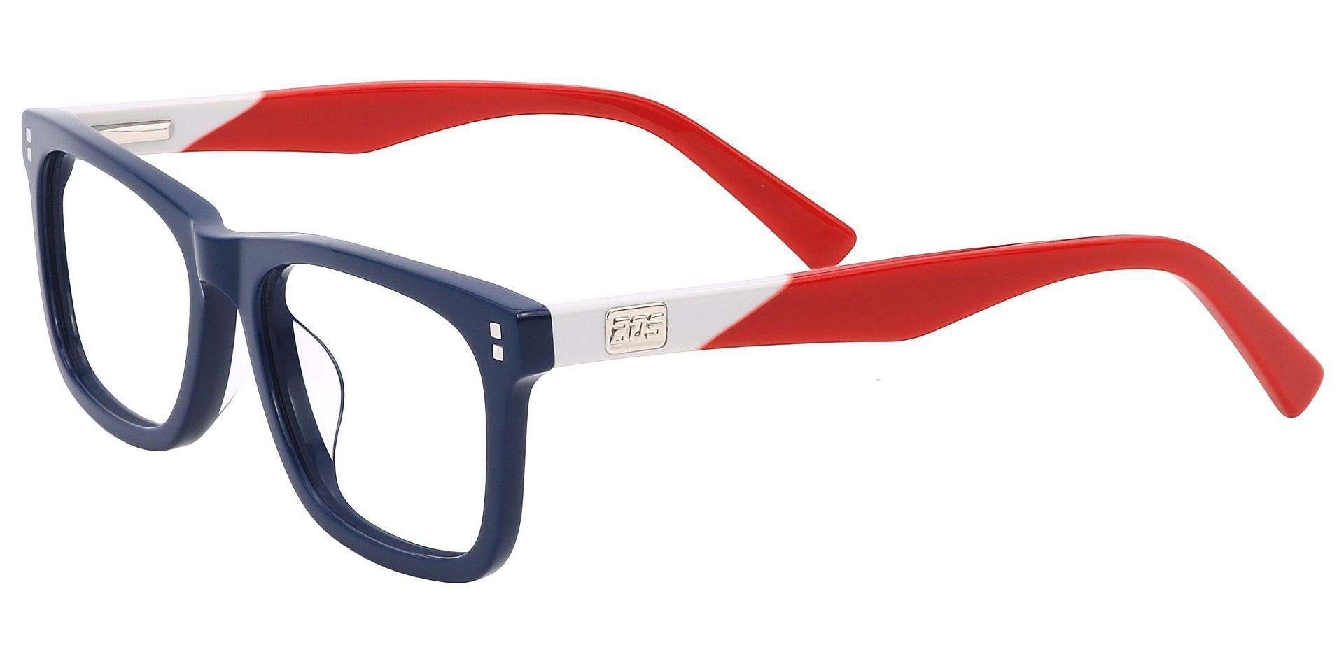 Newbury Rectangle Progressive Glasses - The Frame Is Blue And Red