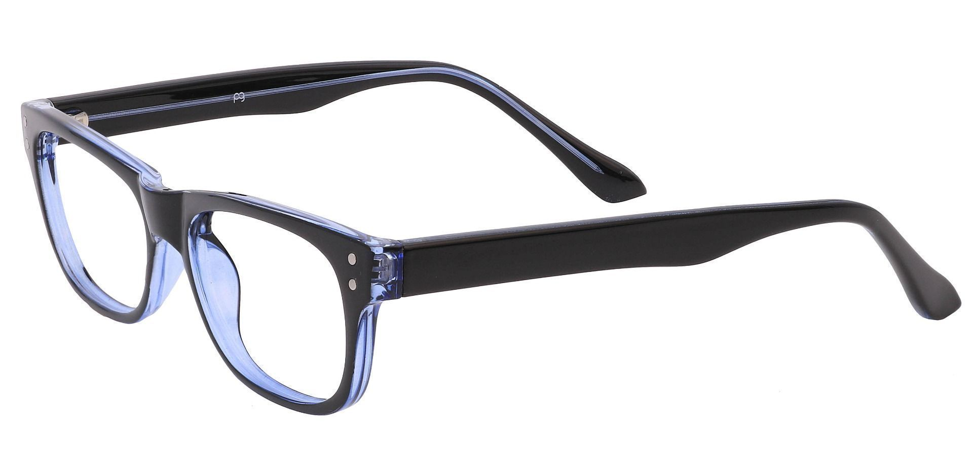 Murphy Rectangle Prescription Glasses - The Frame Is Blue And Black