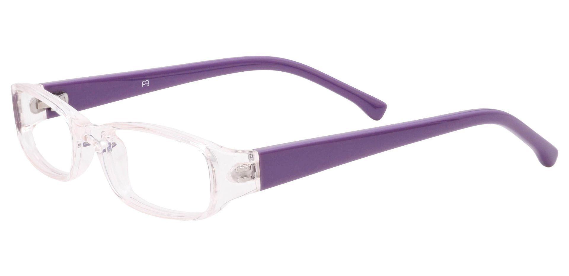 Laurel Rectangle Single Vision Glasses - Pale Pink Crystal