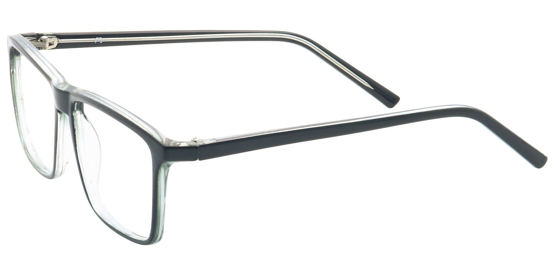 Windsor Rectangle Blue Light Blocking Glasses - Shiny Black/crystal