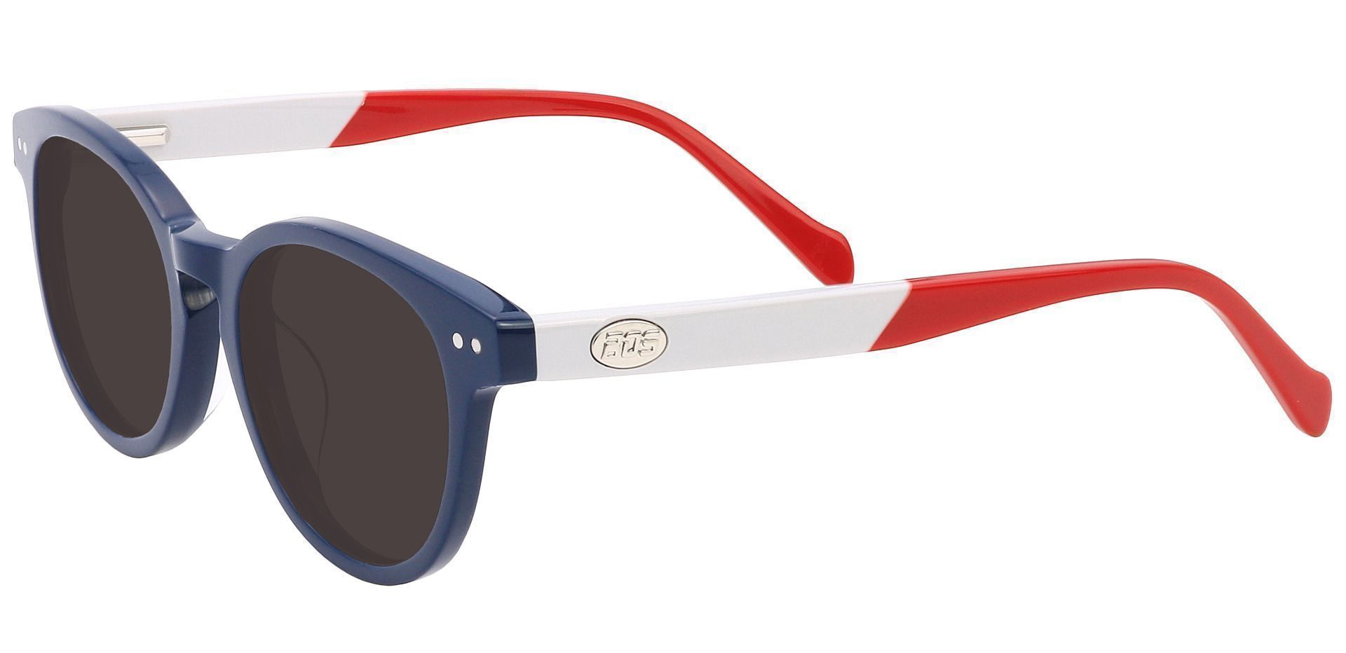 Revere Oval Non-Rx Sunglasses - Blue Frame With Gray Lenses