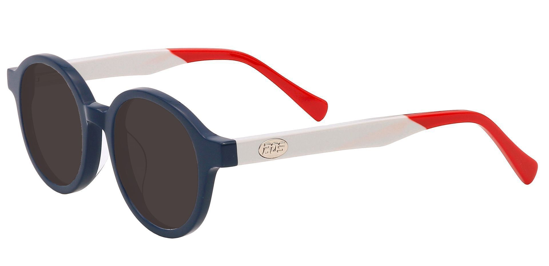 Dudley Round Single Vision Sunglasses - Blue Frame With Gray Lenses