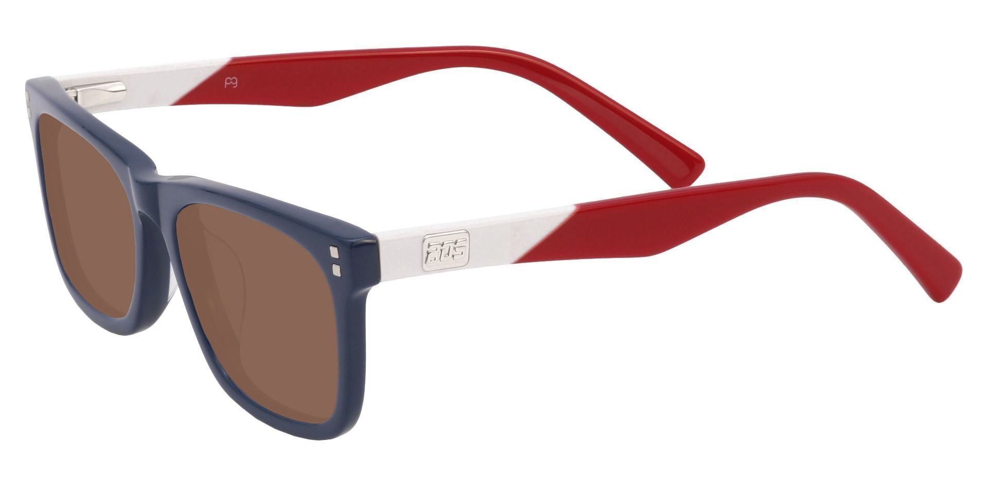 Quincy Rectangle Non-Rx Sunglasses - Blue Frame With Brown Lenses