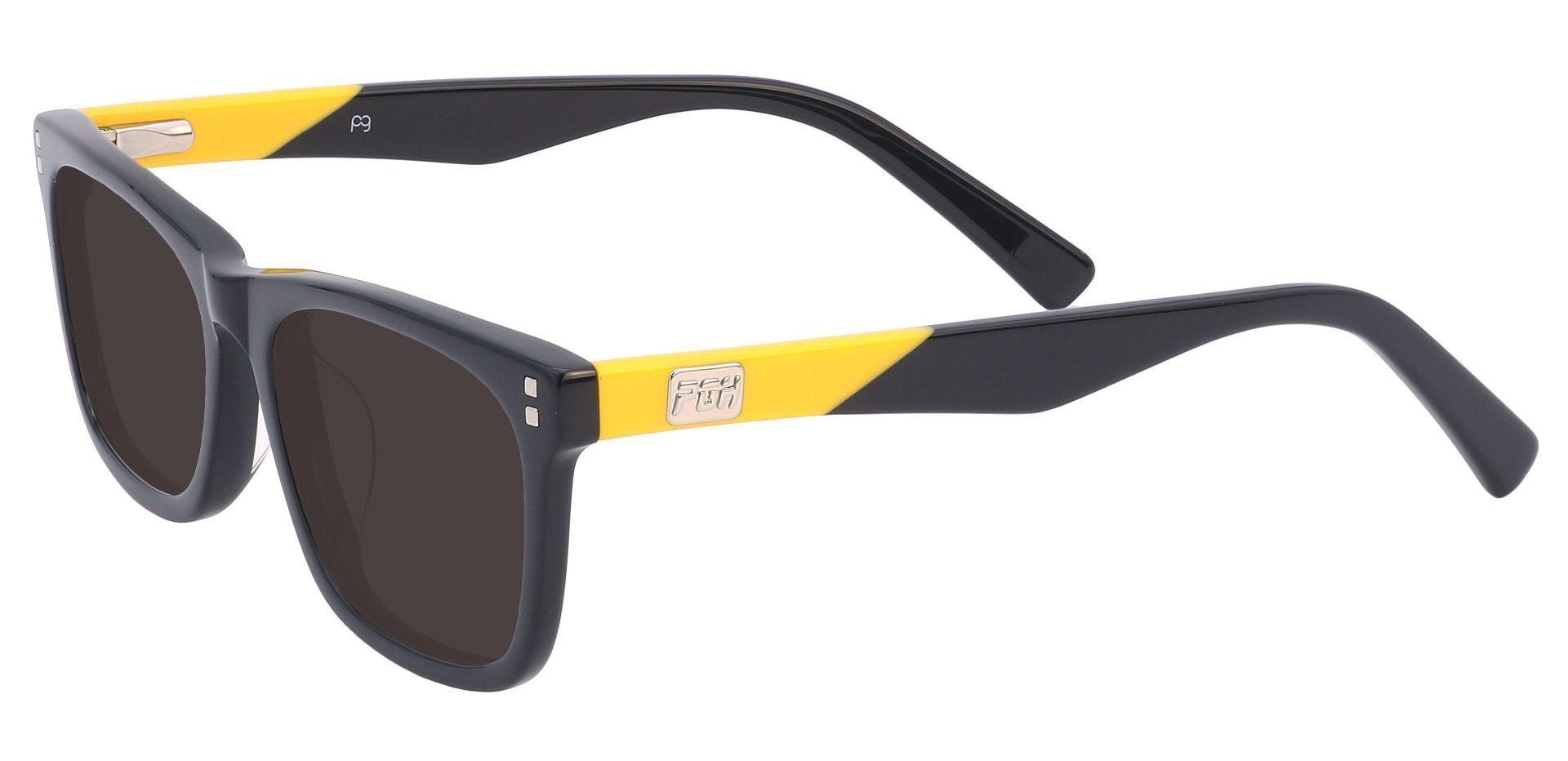 Blitz Rectangle Reading Sunglasses - Black Frame With Gray Lenses
