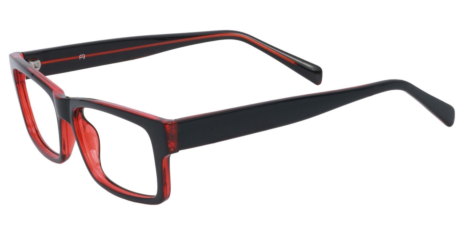 Eclipse Rectangle Prescription Glasses - Black/red