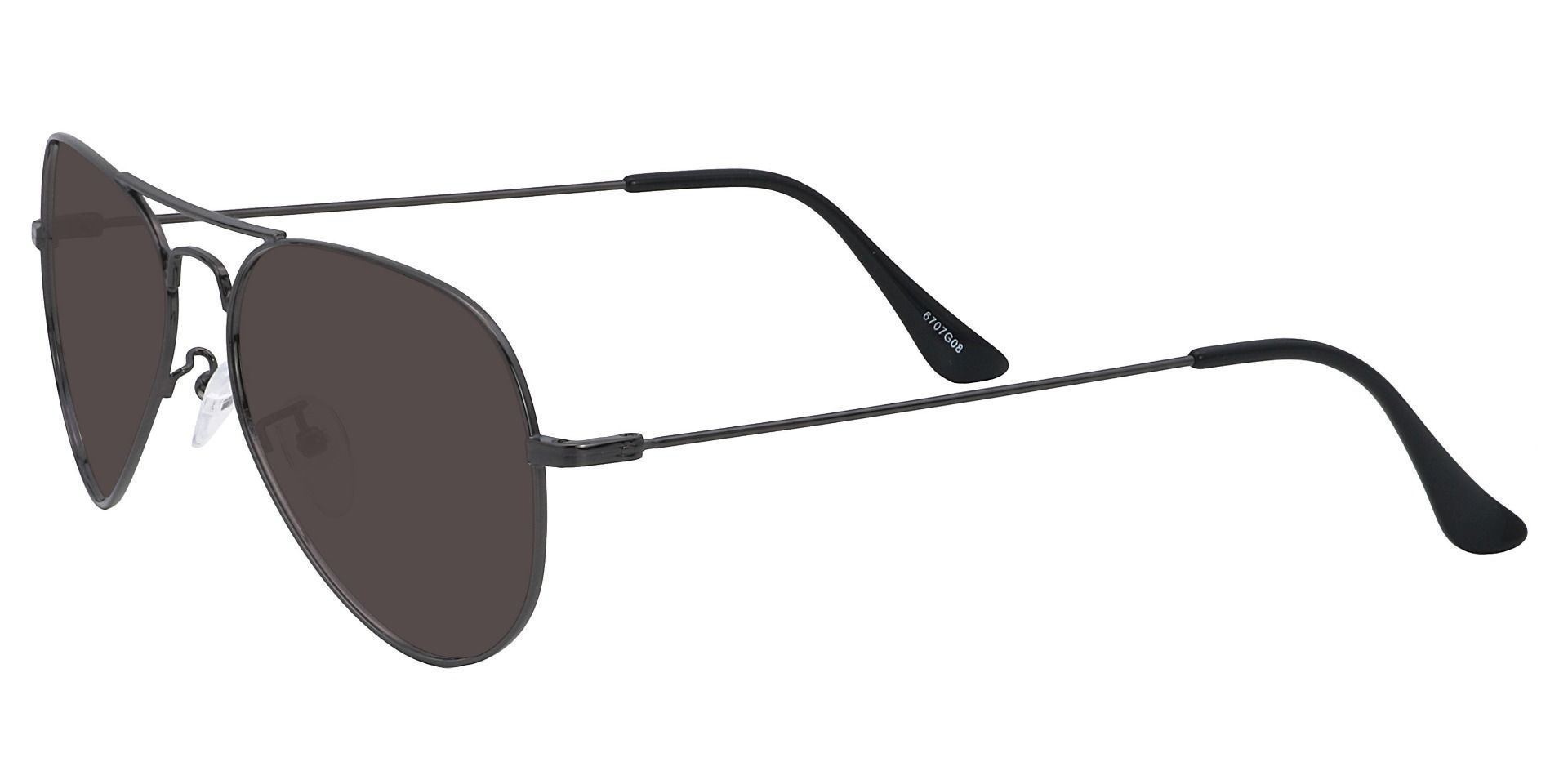 Memphis Aviator Single Vision Sunglasses - Gray Frame With Gray Lenses