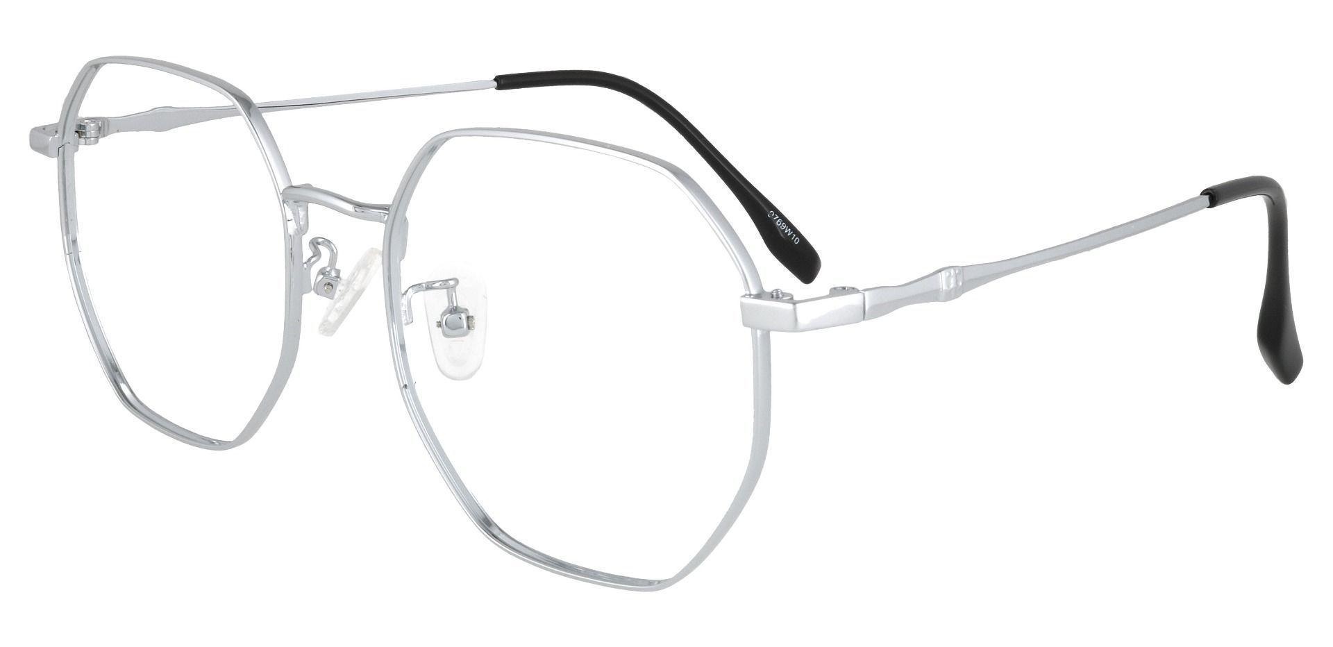 Tudor Geometric Prescription Glasses - Silver